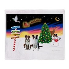 XmasSigns/2 Border Collies Throw Blanket