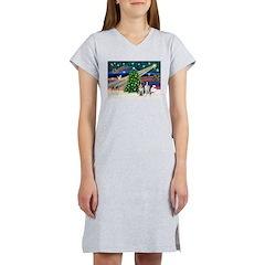 XmasMagic/2 Border Collies Women's Nightshirt