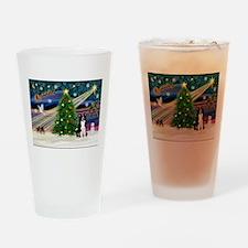 Xmas Magic & Border Collie Drinking Glass