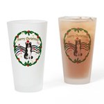 XmasMusic1MC/Border Collie Drinking Glass