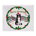 XmasMusic1MC/Border Collie Throw Blanket