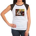 Santa & His Brittany Women's Cap Sleeve T-Shirt