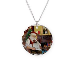 Santa & His Brittany Necklace