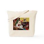 Santa & His Brittany Tote Bag
