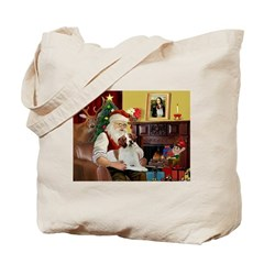 Santa & His Brittany Tote Bag