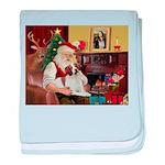 Santa & His Brittany baby blanket