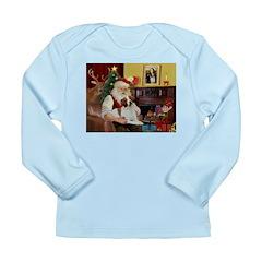 Santa & His Brittany Long Sleeve Infant T-Shirt