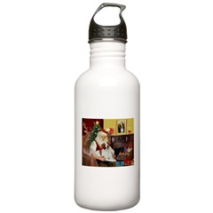 Santa & His Brittany Water Bottle