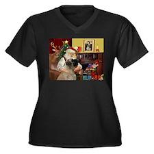 Santa's Bullmastiff #7 Women's Plus Size V-Neck Da