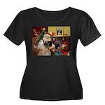 Santa's Bullmastiff #7 Women's Plus Size Scoop Nec