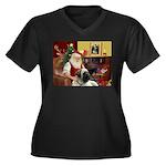 Santa's Bull Mastiff #4 Women's Plus Size V-Neck D