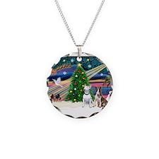 XmasMagic/2 Bullies Necklace Circle Charm