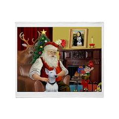 Santa's Bull Terrier Throw Blanket