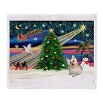 Xmas Magic & Cairn Terrier Throw Blanket