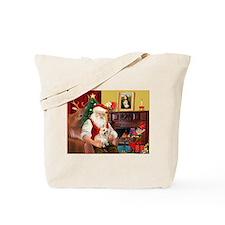 Santa's Cairn Terrier Tote Bag