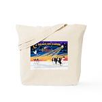 XmasSunrise/2 Cavaliers Tote Bag