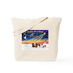 XmasSunrise/5 Cavaliers Tote Bag