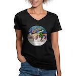 XmasMagic/2 Cavaliers Women's V-Neck Dark T-Shirt
