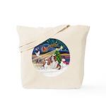 XmasMagic/2 Cavaliers Tote Bag