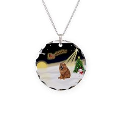 Night Flight/Chow #2 Necklace Circle Charm