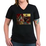 Santa's Chow Chow Women's V-Neck Dark T-Shirt