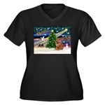 Xmas Magic & Chow Women's Plus Size V-Neck Dark T-