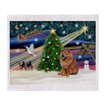 Xmas Magic & Chow Throw Blanket