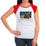 XmasMagic/Cocker (Brn) Women's Cap Sleeve T-Shirt