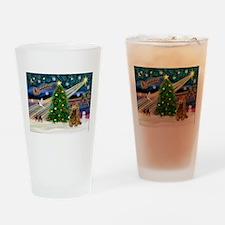 XmasMagic/Cocker (Brn) Drinking Glass