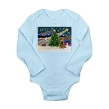 XmasMagic/Cocker (Brn) Long Sleeve Infant Bodysuit
