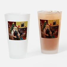 Santa's Black Cocker Drinking Glass