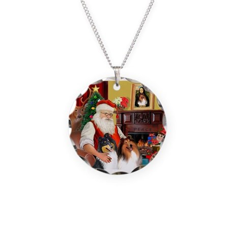 Santa's Collie pair Necklace Circle Charm