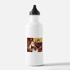 Santa's Collie pair Water Bottle