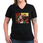 Santa's Collie Women's V-Neck Dark T-Shirt
