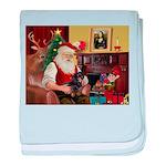 Santa's Dachshund (bt) baby blanket