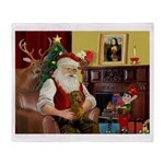 Santa's Dachshund (b) Throw Blanket