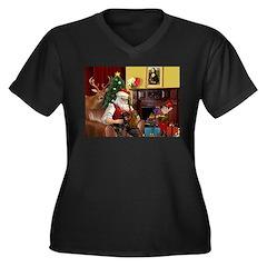 Santa/Two Dachshunds (BB) Women's Plus Size V-Neck