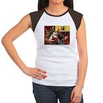 Santa/Two Dachshunds (BB) Women's Cap Sleeve T-Shi