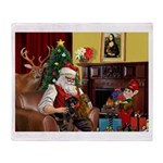 Santa/Two Dachshunds (BB) Throw Blanket