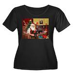 Santa's 2 Doxies (blk) Women's Plus Size Scoop Nec