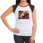 Santa's 2 Doxies (blk) Women's Cap Sleeve T-Shirt