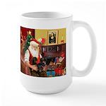 Santa's 2 Doxies (blk) Large Mug