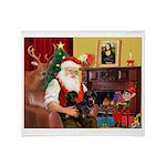 Santa's 2 Doxies (blk) Throw Blanket
