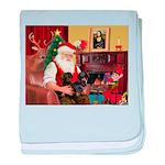 Santa's 2 Doxies (blk) baby blanket