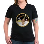 Night Flight/Dachshund #11 Women's V-Neck Dark T-S