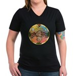 XmasMusic2/Dachshund (WH)#11 Women's V-Neck Dark T