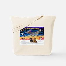 XmasSunrise/ 2 Dachshunds Tote Bag