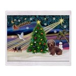 XmasMagic/Dachshund (Wire) Throw Blanket