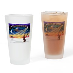 XmasSunrise/Dobie (red) Drinking Glass