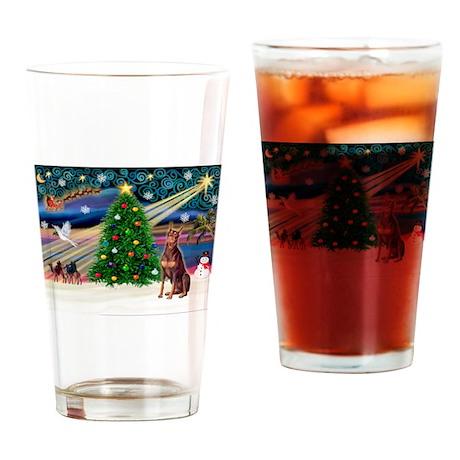 Xmas Magic/Red Dobie Drinking Glass